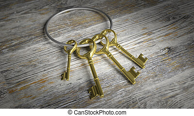 3D silver key ring with golden retro keys on old wooden...