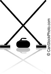 Brooms and stone for curling with reflection on a white...