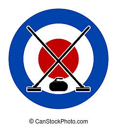 Brooms and stone for curling on Curling House Vector...