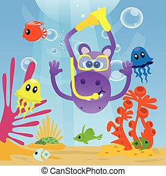 Hippo diving under sea and swimming with fishes.