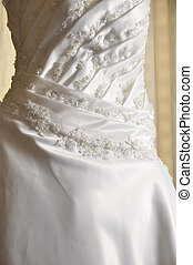 Wedding Gown - White wedding gown by a large window