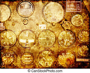 Grunge background with retro control panel in a war plane...