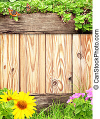 Summer background with wooden plank, butterfly, grass and green leaves