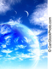 Beautiful sky, cloud and planet Elements of this image...