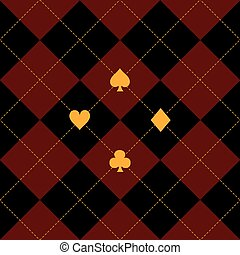 Card Suits Black Royal Red Diamond Background