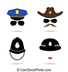 Set of colorful vector icons isolated on white. Policeman...
