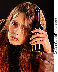 Drunk girl holding bottle of vodka - Drunk girl with long...