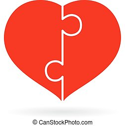 Puzzle heart icon isolated on white background