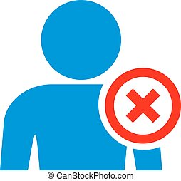 User banned icon isolated on white background