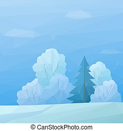 Christmas Landscape, Forest Low Poly