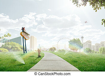 summer path through the lawn with panorama view of Las Vegas...