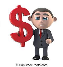 3d Businessman holds US Dollar currency symbol - 3d render...