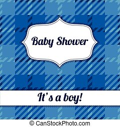 Its a boy card with plaid - Vector Its a boy card with plaid
