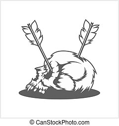 Skull with arrows