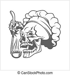 Cook skull with a ladle. - Chef skull in toque. Cook skull...