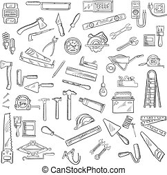 Construction tools and equipment objects - Tools icons with...