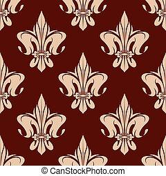 Brown seamless fleur-de-lis pattern