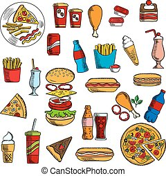Sketches of fast food and desserts - Fast food snacks with...