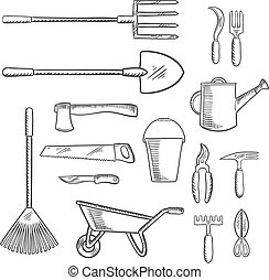 Gardening and agricultural tools icons - Gardening and...