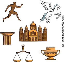 Greek mythology, art and religion icons