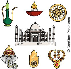 Indian culture and religion icons - Indian travel,religion...
