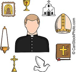 Priest profession with religious symbols - Priest in black...