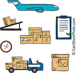 Air freight and shipping icons - Air freight, transportation...