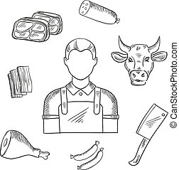 Butcher proffesion and meat icons - Butcher profession icons...