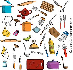 Kitchen utensils and kitchenware icons - Sketched kitchen...