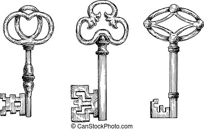 Engraving sketches of medieval keys for security theme,...
