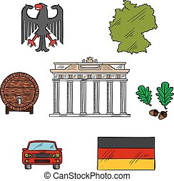 German culture and travel icons - National flag, map of...