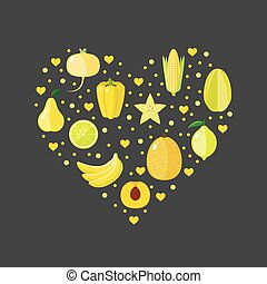 Heart shape with yellow fruits and vegetables