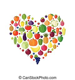 Fruits and vegetables in heart shape.