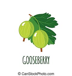 Gooseberry icon in flat style on white background -...