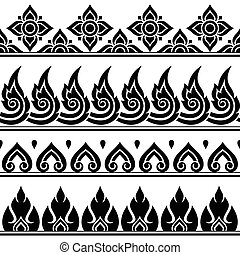 Seamless Thai pattern, repetitive - Vector black and white...