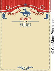 American cowboy rodeo poster. - American western cowboy...
