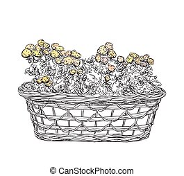 Hand drawn basket sketch with flowers