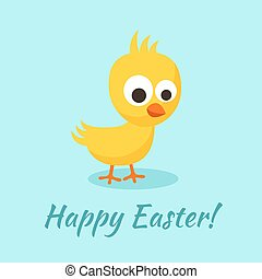 Happy Easter greeting with small yellow chick in flat design...