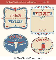 Western labels.  - Western vintage labels background.
