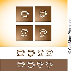 Coffee logo cup contour line drawing - Vector company logo...