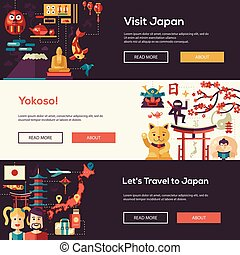 Japan travel banners set with landmarks, famous Japanese symbols