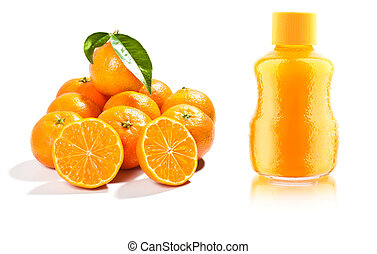 fresh mandarins with leaf isolated on white background and...