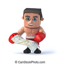 3d Boxer looks at the map for directions - 3d render of a...