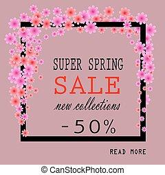 Super Spring Sale Banner. Colorful Spring Frame with Flowers. Vector Illustration.