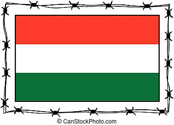 hungary flag - metaphor - hungary flag surrounded by barbed...