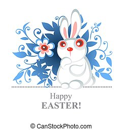 easter rabbit - Stylized Easter rabbit with flowers on a...