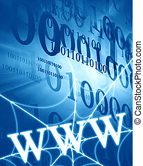 www on a spiderweb on a blue background