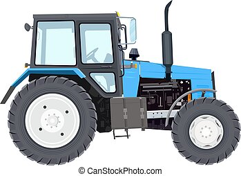 Blue new tractor. Agricultural machinery. Wheeled tractor....