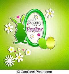 happy easter - sfondo verde con uova e coniglio