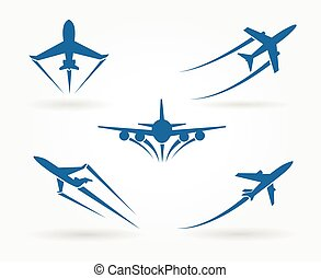 Flying up airplane icons. Takeoff plane symbol. Vector...